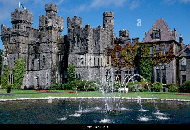 View Of Ashford Castle With Fountain Hotel Cong County Mayo Ireland   Stock  Image
