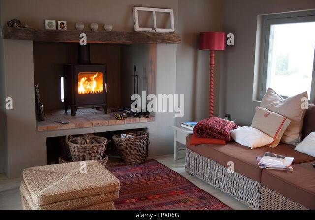 Wood burning stove stock photos wood burning stove stock - Living room with wood burning stove ...