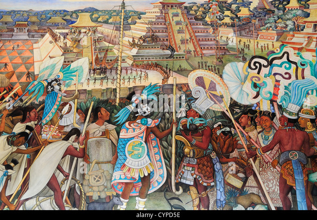 Diego rivera painting stock photos diego rivera painting for Aztec mural painting