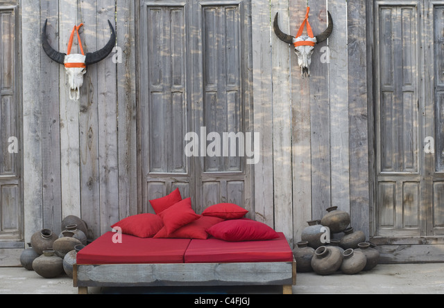 naturmobel bed made of rustic wood stock image catalogo intermobil tenerife