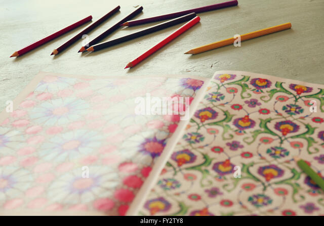 Adult Coloring Book Trend For Stress Relief Top View Selective Focus