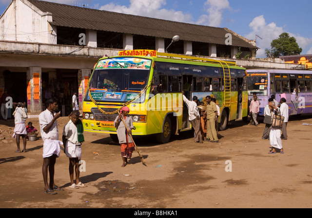 Mayiladuthurai India  city pictures gallery : India Tamil Nadu Mayiladuthurai Bus Stand passengers boarding local ...