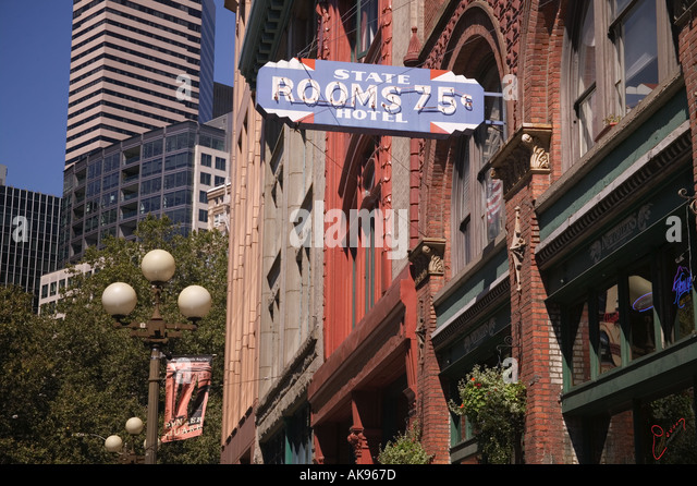 State Hotel Vintage 75 Rooms Sign In Pioneer Square Seattle Washington