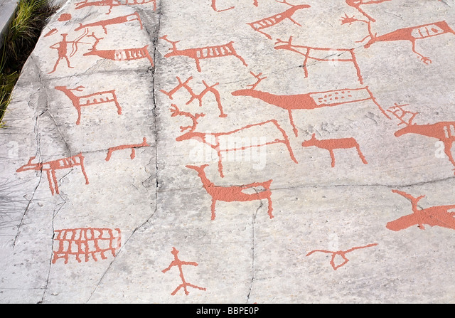 Rock carvings norway stock photos