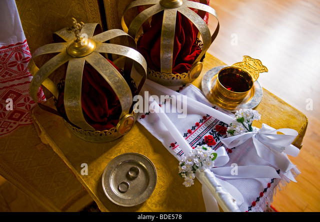 Crown hats and rings before the start of a russian orthodox wedding   Stock  ImageOrthodox Wedding Stock Photos   Orthodox Wedding Stock Images   Alamy. Orthodox Wedding Rings. Home Design Ideas