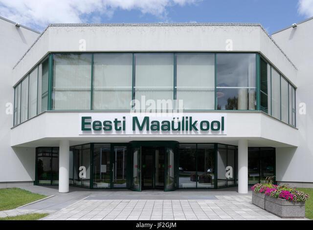 Main entrance of the Estonian University of Life Sciences. Tartu 28th June 2017 - Stock Image