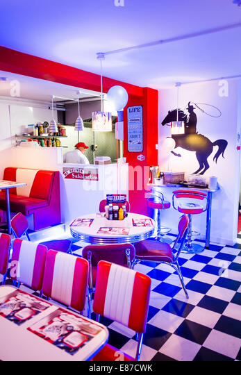 Interior: 'AberYankee' American Diner style themed cafe restaurant,  Aberystwyth UK - Stock
