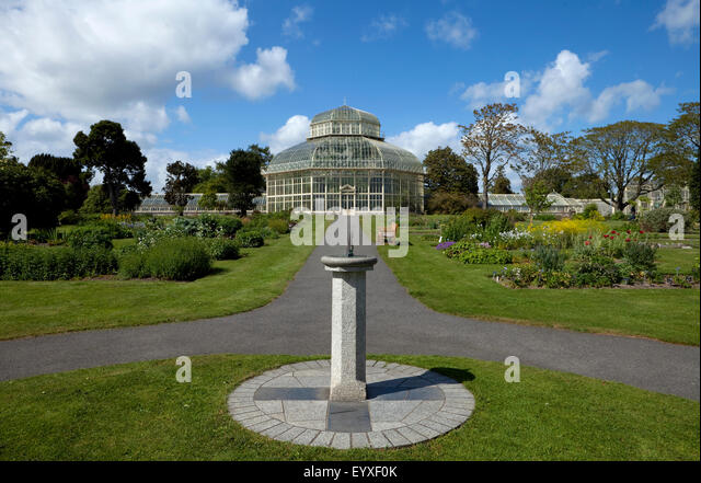Sun Dial And Path To The The Palm House, National Botanic Gardens,  Glasnevin,