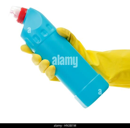 Hand With Yellow Glove Holding Cleaning Product
