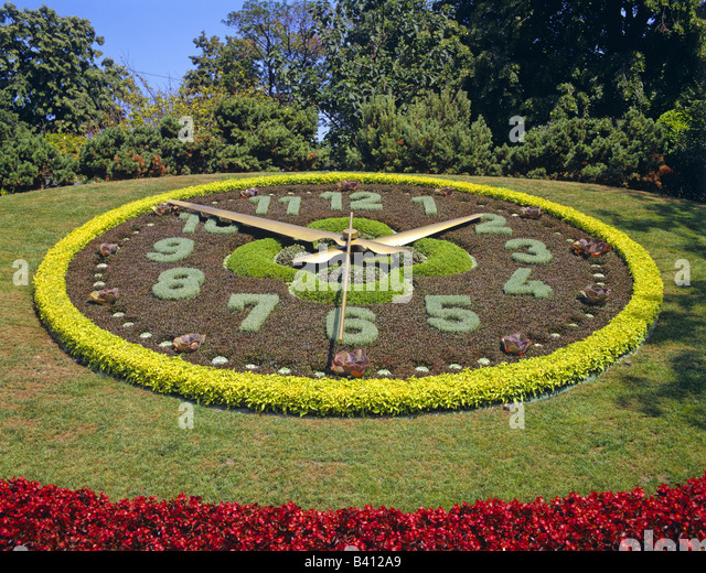 The Flower Clock In The English Garden Geneva Switzerland   Stock Image