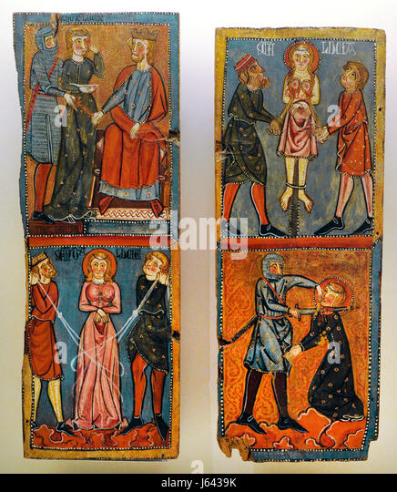 Anonymous. Catalonia. Panels with scenes of the Martyrdom of Saint Lucy, ca.1300. From the Parish Church of Santa - Stock Image