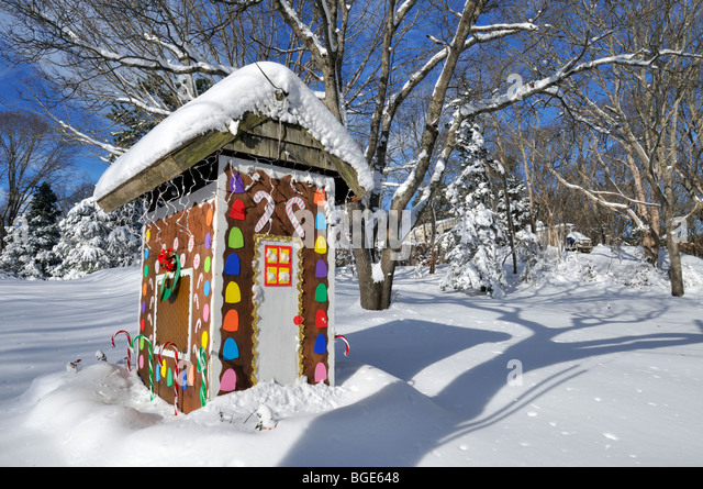 Colorful Gingerbread House Christmas Display Outdoors With Fresh Snow In  Winter   Stock Image