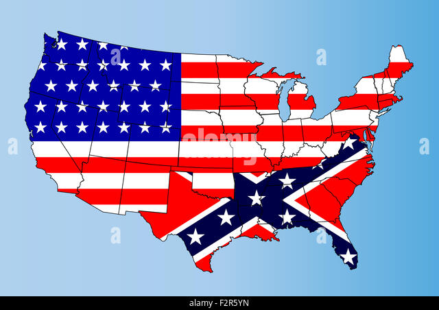An Outline Map Of The United States Of America Showing The Confederate States Against The Confederate