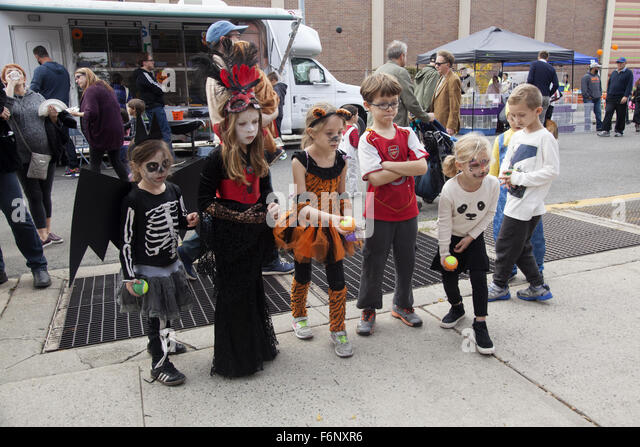 children play a game at a neighborhood halloween party in windsor terrace brooklyn ny - Brooklyn Halloween Party
