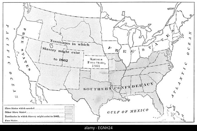 United States Civil War Map Stock Photos United States Civil War - Map of the us during civil war