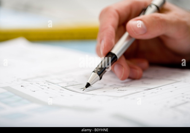 Pencil sketch building stock photos pencil sketch building stock mans hand pointing at blueprint with pen stock image malvernweather Image collections
