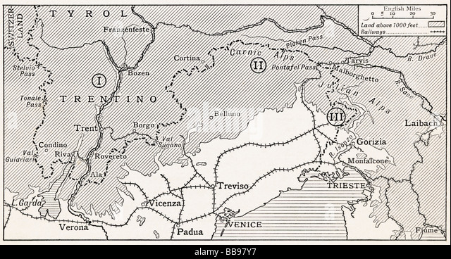 World War 1 Map Black And White. The three theatres of war on the Austro Italian Frontier 1915  1 Trentino First World War Map Stock Photos