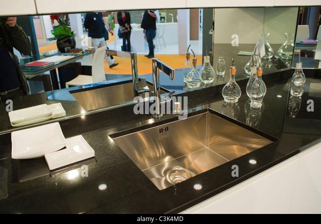paris france french design kitchen sink at trade show modern interiors gillis - Kitchen Sink Displays