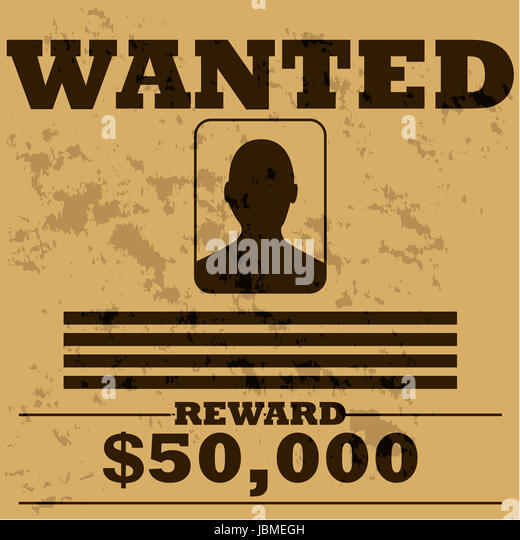Concept Illustration Of A Template Poster For A Wanted Man In Old Western  Style   Stock