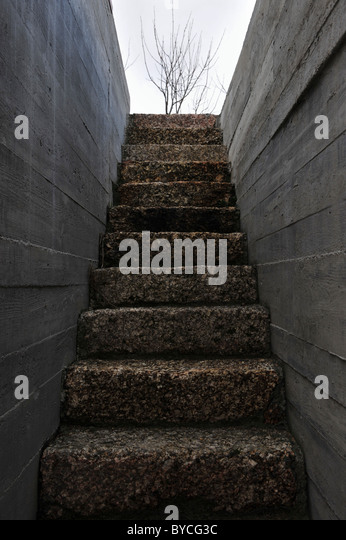 Stone Stair Steps And Concrete Walls   Stock Image