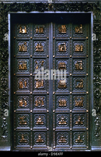 North doors of the Baptistry Florence Italy. Gilded bronze showing scenes for the & Lorenzo Ghiberti Stock Photos u0026 Lorenzo Ghiberti Stock Images - Alamy pezcame.com