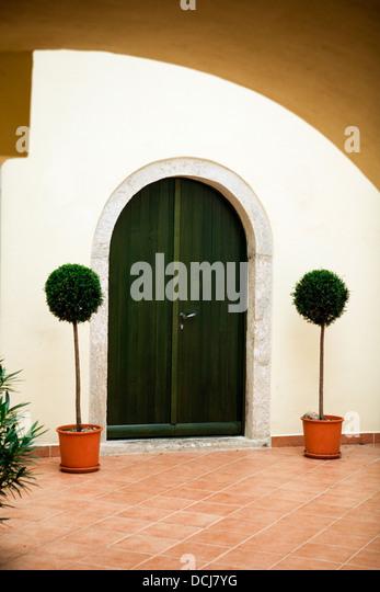 Mediterranean style home exterior stock photos for Mediterranean style front doors