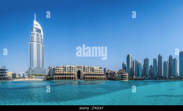 Panorama of downtown Dubai, Souk Al Bahar in front of Burj Khalifa on in Dubai, UAE, Middle East. - Stock Image