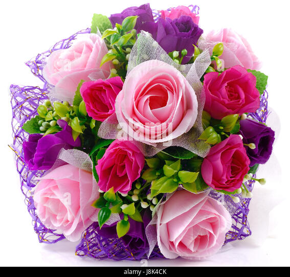 Bouquet Of Pink Purple Roses On The White Background