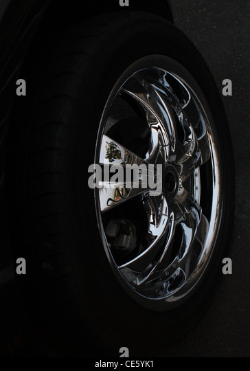 chrome tire hub cap hubcap bhz stock image