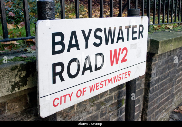 Bayswater road london stock photos bayswater road london stock bayswater road london w2 street name sign stock image reheart Images