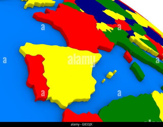 Map Spain Portugal Iberia Stock Photos Map Spain Portugal Iberia - Portugal globe map