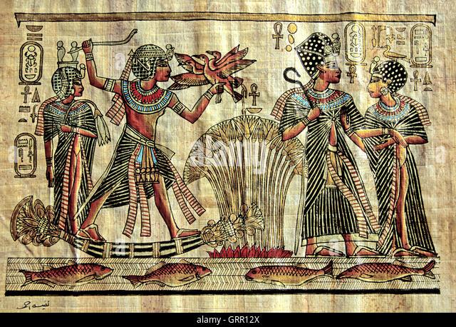 Egyptian tomb painting stock photos egyptian tomb for Beni hasan mural