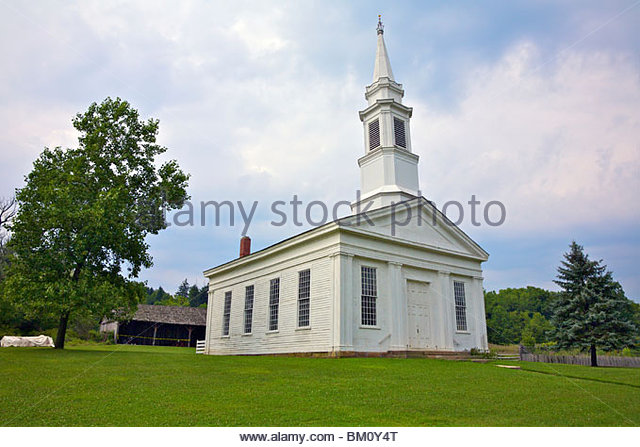 Nineteenth century american church architecture stock photos church at hale farm village cuyahoga valley national park cleveland ohio usa sciox Gallery