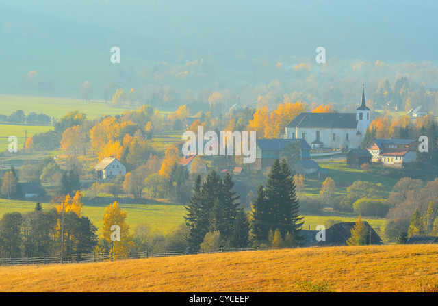 Autumn Mountain Landscape Polish Czech Border Near Bartosovice And  Mostowice Villages Lower Silesia Poland Stock