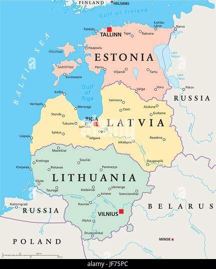 Map Lithuania Latvia Estonia Stock Photos Map Lithuania Latvia - Latvia map outline