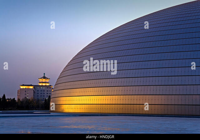 National stadium beijing night stock photos national for Beijing opera house architect