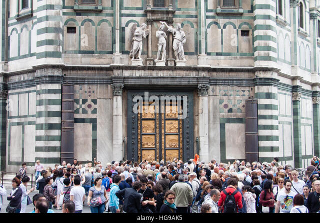 FLORENCE ITALY - APRIL 29 2016: tourists look on East doors of Baptistery & Florence Baptistery Doors Stock Photos \u0026 Florence Baptistery Doors ... Pezcame.Com