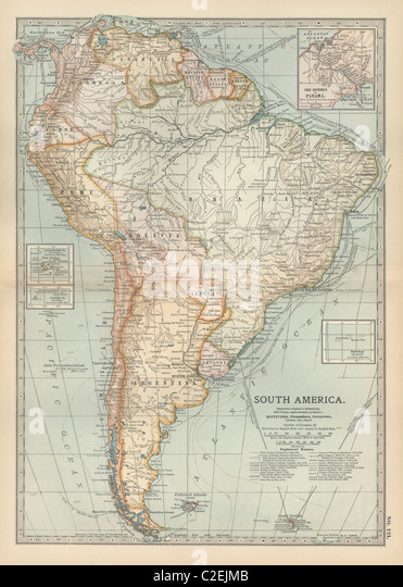 South america map 19th century stock photos amp south america map 19th