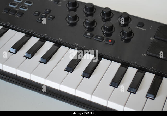 Piano or electone midi keyboard, electronic musical synthesizer - Stock Image