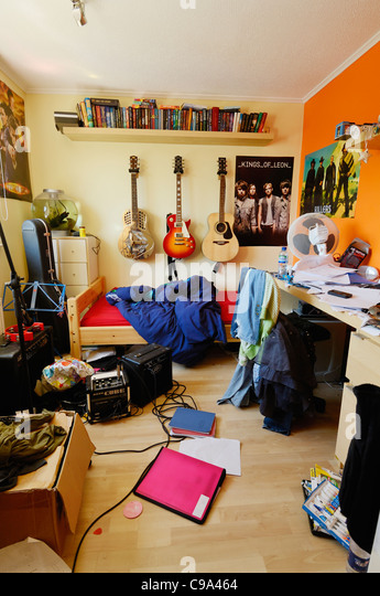 An Untidy And Brightly Coloured Teenagers Bedroom