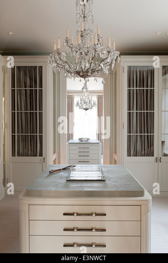 Glass chandelier stock photos glass chandelier stock images alamy cut glass chandelier in dressing room with glass panelled wardrobes stock image aloadofball Choice Image