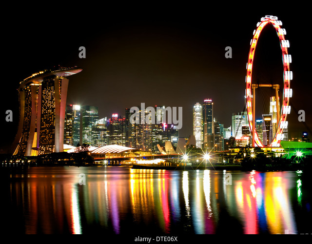 view of marina bay area from bay east garden during singapores national day celebration stock