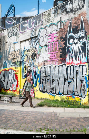 Wick United Kingdom  City new picture : ... wall by the canal, Hackney Wick, London, United Kingdom Stock Image