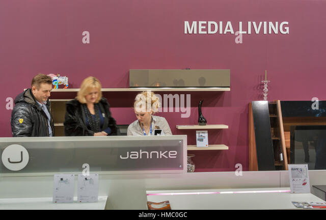Visitors Visit Jahnke Furniture German Company Booth Display At Kiev  International Furniture Forum At Kyiv Expo