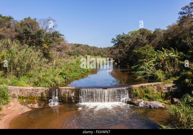 river small waterfall wall weir summer countryside overlooking photo stock image
