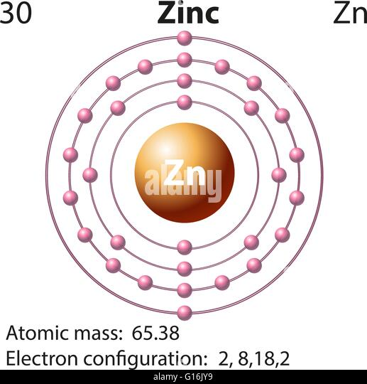 Zinc stock vector images alamy symbol and electron diagram for zinc illustration stock vector ccuart Images