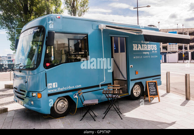 The original hairbus a mobile barbers shop male grooming salon in a