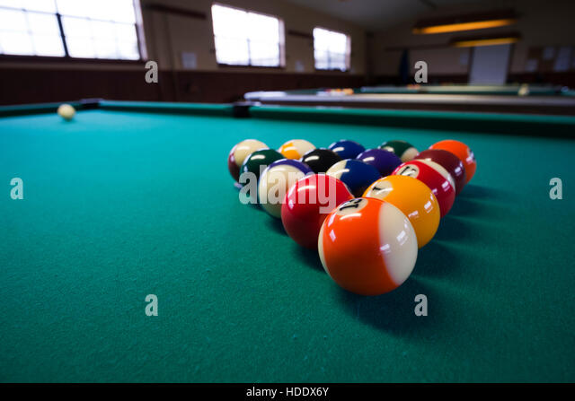 Billiards Tables Set Up At An RV Parksp Pool Hall   Stock Image