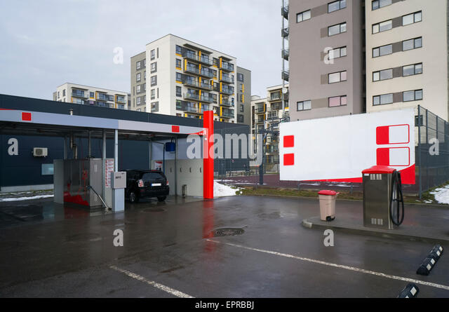 Self cleaning window stock photos self cleaning window stock self service standard car wash in the winter city urban landscape stock image solutioingenieria Images