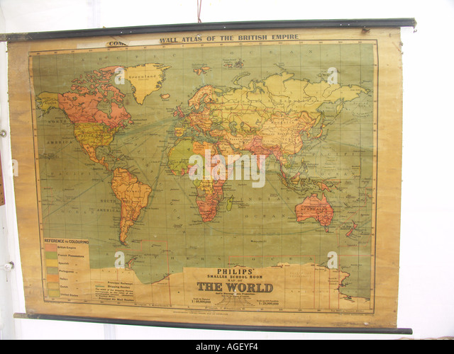 Map of the british empire stock photos map of the british empire old school wall map showing british empire in red stock image gumiabroncs Gallery